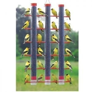 Finches Favorite 3-Tube Bird Feeders - Red