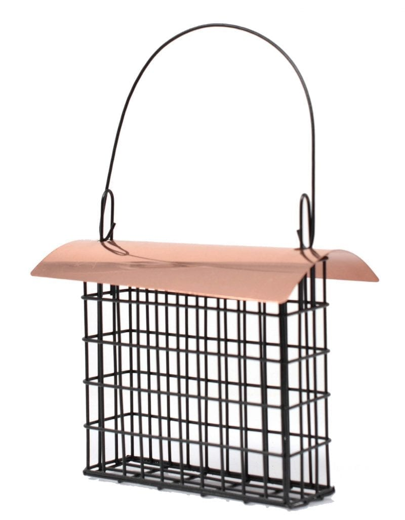 Deluxe Suet Cage Bird Feeders with Copper Electroplated Roof