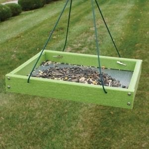 green platform bird feeder