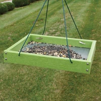 green platform bird feeder